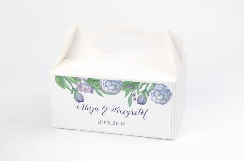 Ozdobne pudełko na ciasto - Kwadratowa kartka: Hortensje