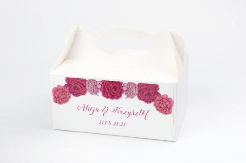 Ozdobne pudełko na ciasto - Kwadratowa kartka: Różowe Piwonie
