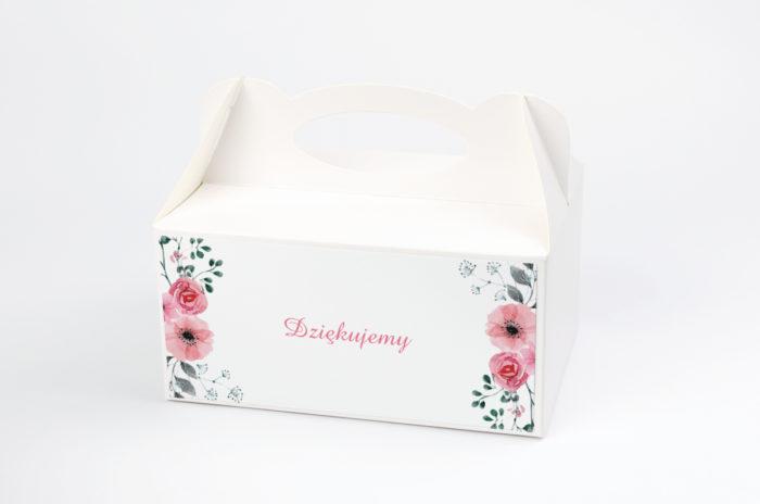 Ozdobne pudełko na ciasto - Kwiaty z nawami: Kwiatuszki pink