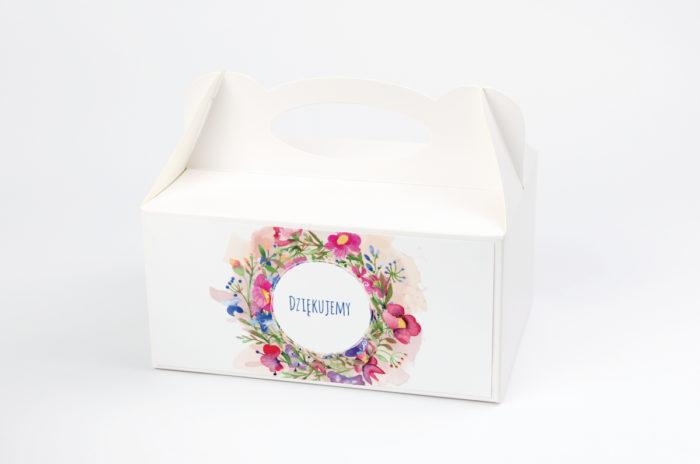 Ozdobne pudełko na ciasto - Kwieciste wianki - Kolorowe bratki