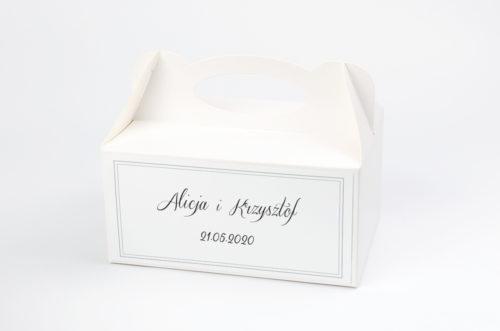 Ozdobne pudełko na ciasto - Do zaproszenia Szare ze wstążką