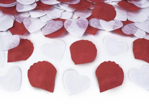 Strzelające konfetti - Granat z sercami i płatkami róż