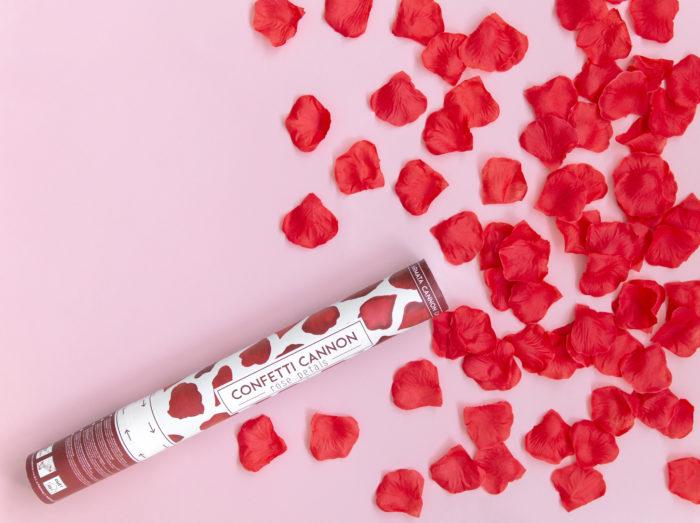 Strzelające konfetti - Bordowe płatki róż