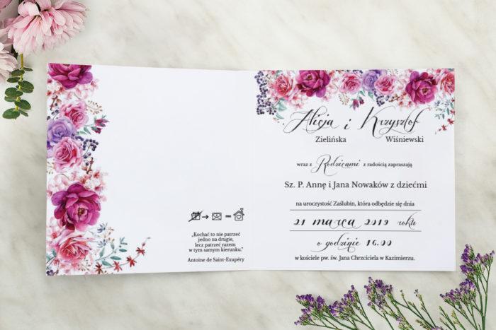 zaproszenie ślubne wianuszki fuksjowe peonie