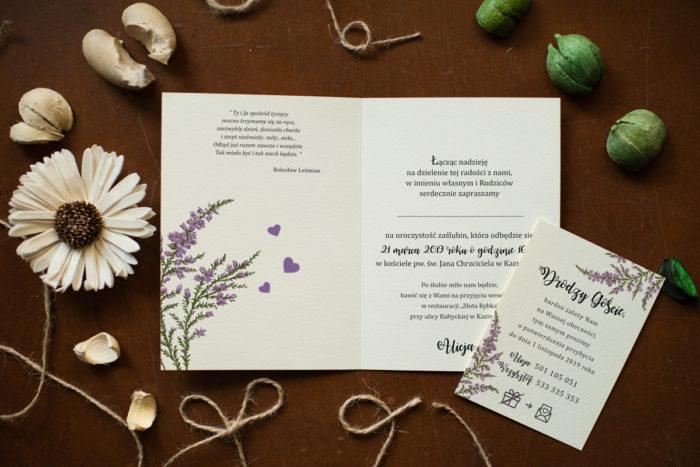 Rustykalne zaproszenie ślubne Kwiaty - Wrzosy