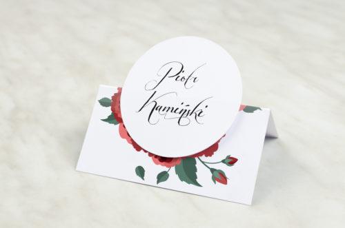 Winietka ślubna z kółeczkiem do zaproszenia Wianki z kokardą - Bordowe róże