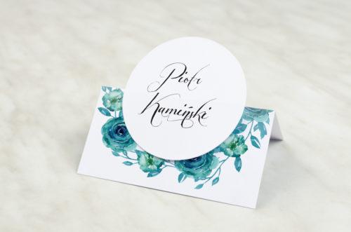 Winietka ślubna z kółeczkiem do zaproszenia Wianki z kokardą -Niebieskie róże