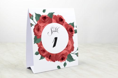 Numer stolika do zaproszenia Wianki z kokardą - Bordowe róże