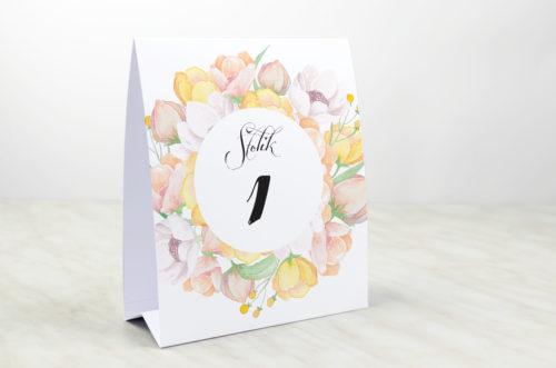 Numer stolika do zaproszenia Wianki z kokardą - Pastelowe anemony