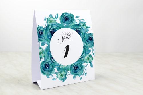 Numer stolika do zaproszenia Wianki z kokardą - Niebieskie róże