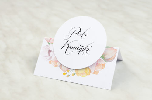 Winietka ślubna z kółeczkiem do zaproszenia Wianki z kokardą - Pastelowe anemony