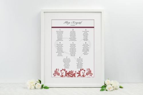 Plan stołów weselnych - do zaproszenia Ornament z kokardką wzór 5