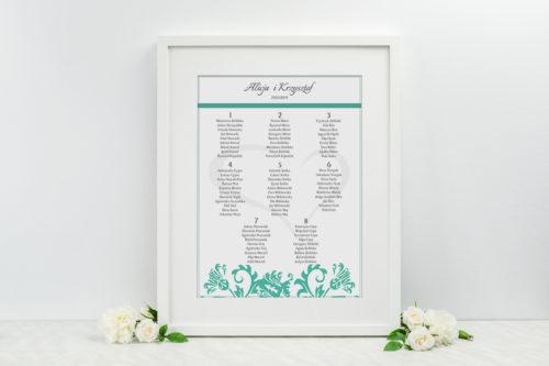 Plan stołów weselnych - do zaproszenia Ornament z kokardką wzór 8