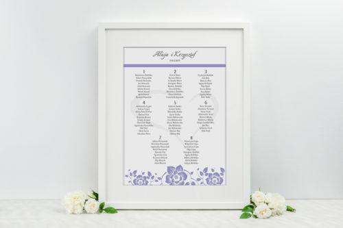 Plan stołów weselnych - do zaproszenia Ornament z kokardką wzór 6
