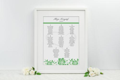 Plan stołów weselnych - do zaproszenia Ornament z kokardką wzór 7