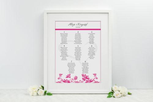 Plan stołów weselnych - do zaproszenia Ornament z kokardką wzór 1