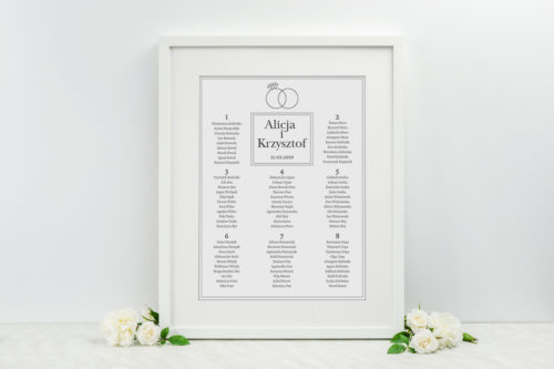 Plan stołów weselnych Złote obrączki