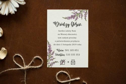 Dodatkowa karteczka do zaproszeń Kwiaty - Wrzosy