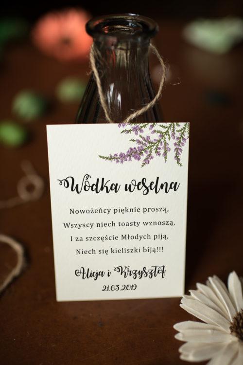 Zawieszka na alkohol do zaproszeń Kwiaty - Wrzosy