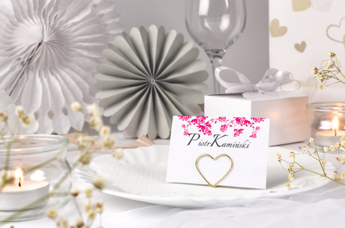 winietka ślubna z różowym ornamentem