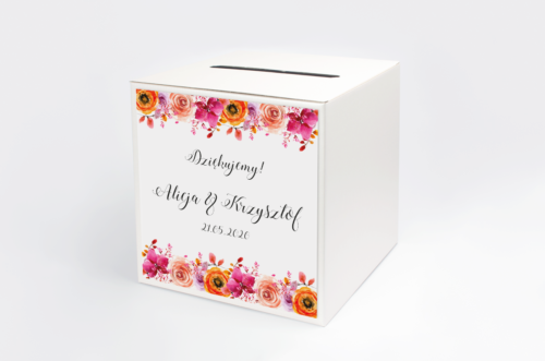 pudełko na koperty w kwiatami