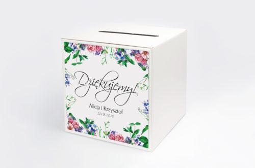 pudełko na koperty z kolorowymi kwiatami