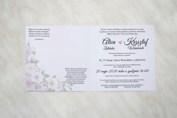 pastelowe kwiaty zaproszenie wewnatrz