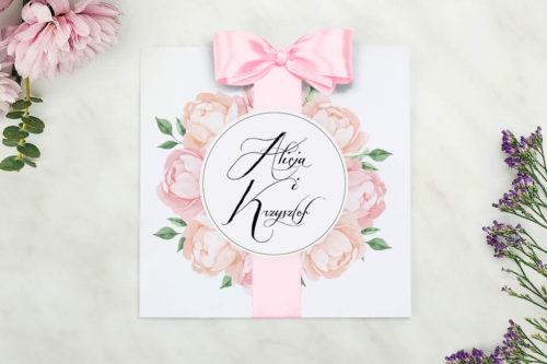 zaproszenie ślubne w pastelowe kwiaty