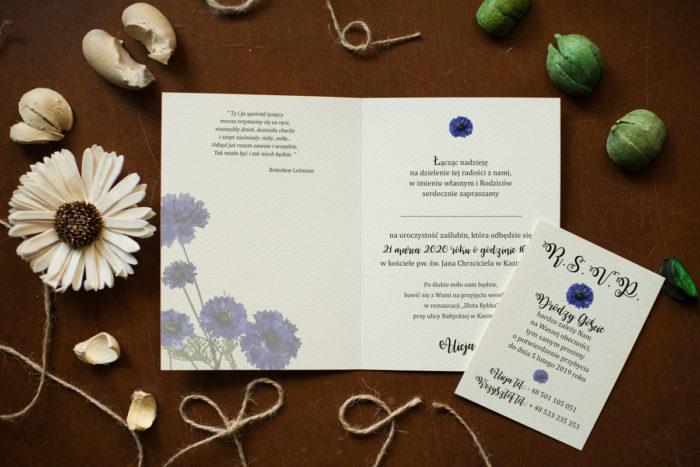 zaproszenie ślubne z chabrami