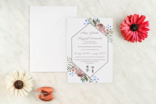 jednokartkowe zaproszenie ślubne polne kwiaty