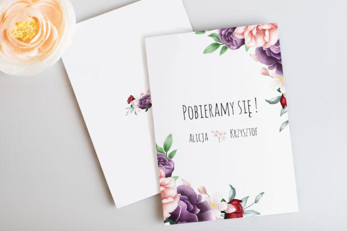 rustykalne-zaproszenie-slubne-botaniczne-kolorowe-kwiaty-papier-satynowany