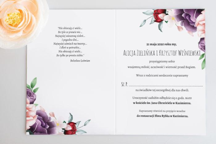 zaproszenie ślubne kolorowe kwiaty