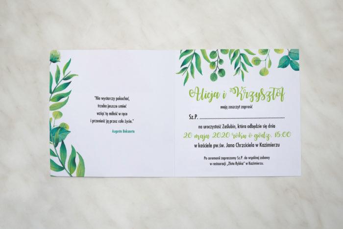 zielony wianek kwadratowe zaproszenie