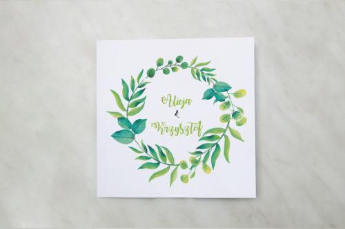 zaproszenie ślubne zielony wianek