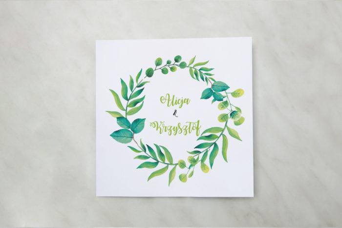 zaproszenie-slubne-kwadratowe-zielony-wianek-papier-matowy-koperta-bez-koperty