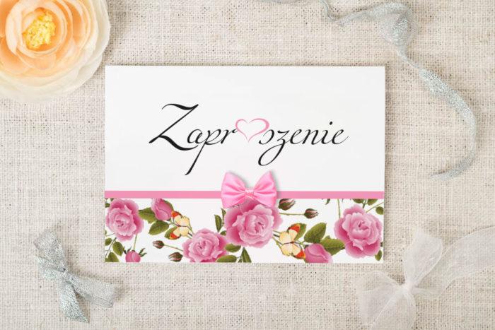 zaproszenie kwiatowe różowe róże