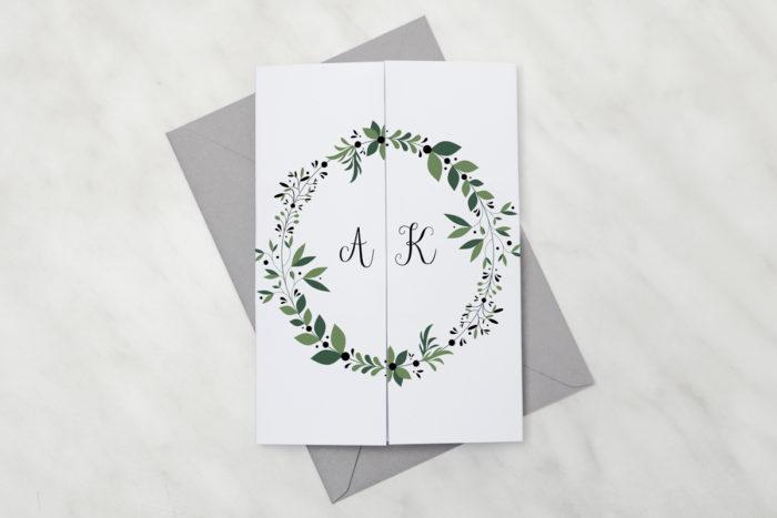 oryginalne-zaproszenie-slubne-kwiaty-z-nawami-zielony-wianek-papier-satynowany