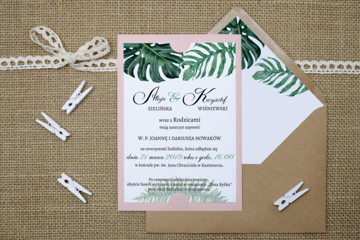 zaproszenie ślubne zielone liście