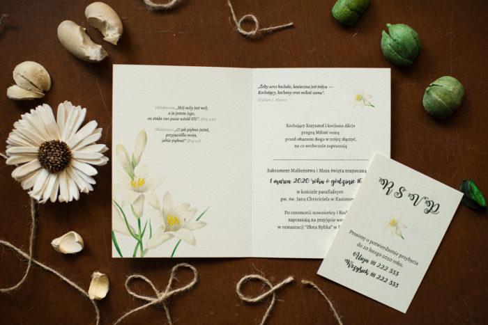 lilie na zaproszeniu slubnym