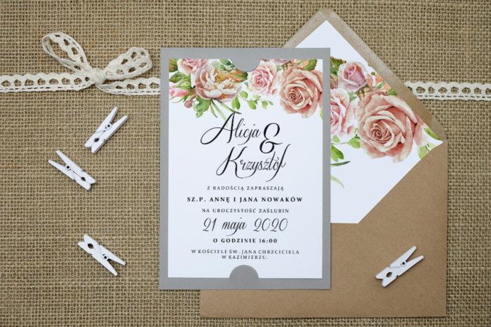 zaproszenie ślubne boho pastelowe róże