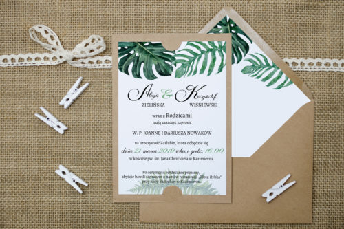 Zaproszenie boho b6 zielone liście