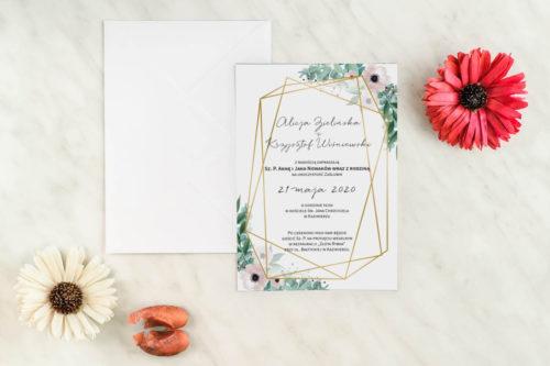 jednokartkowe zaproszenie ślubne