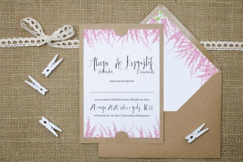 zaproszenie ślubne boho różowe wrzosy