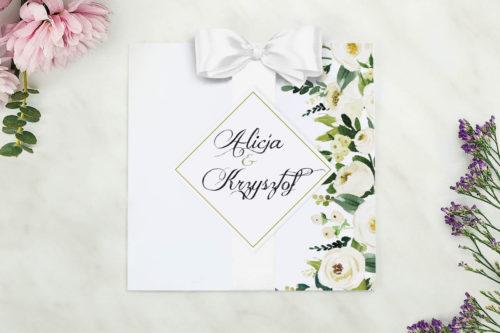 zaproszenie biale kwiaty