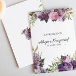 zaproszenie fioletowe-kwiaty