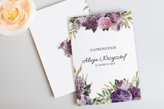 rustykalne-zaproszenie-slubne-botaniczne-fioletowe-kwiaty-papier-satynowany