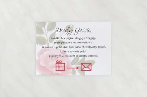 dodatkowa karteczka do zaproszeń ślubnych
