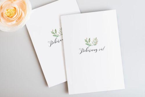 delikatne zaproszenie ślubne z listkami
