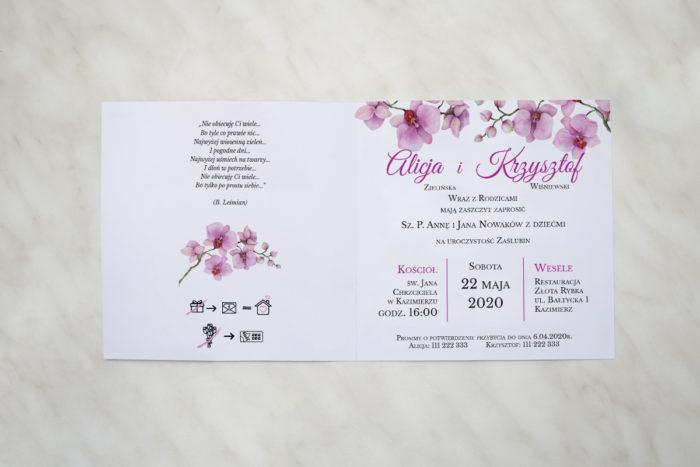 zaproszenie ślubne storczyki