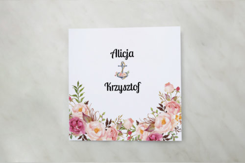 zaproszenie ślubne z kotwicą